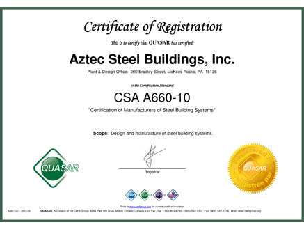 Steel Building Certifications - Mayflower Steel Buildings